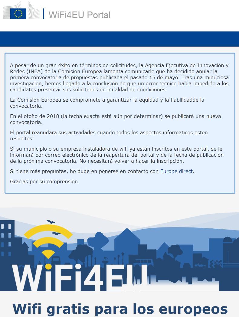 Anulada la primera convocatoria de WiFi4EU